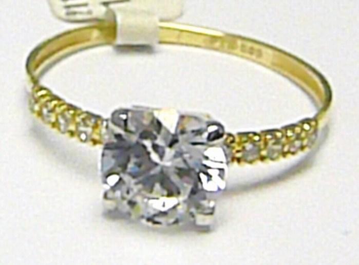 Zásnubní zlatý prsten s velkým a s malými zirkony 585/1,37 gr vel. 58 P364 POŠTOVNÉ ZDARMA! (2110102)