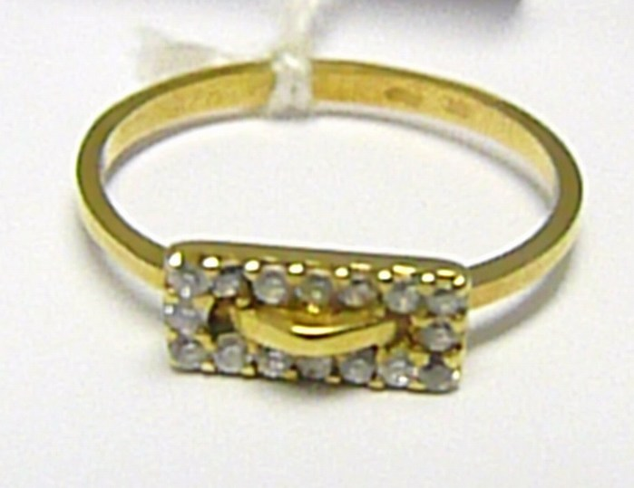Dámský zlatý prstýnek ze žlutého zlata s 16-ti zirkony 585/1,50 gr vel. 49 P366