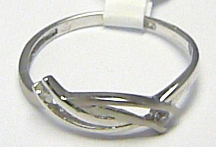 Dámský prsten z bílého zlata se zirkony (2 ks) 585/1,02 gr vel. 53 P367