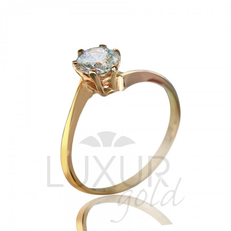 Zásnubní dámský prstnýek s velkým čirým zirkonem 585/0,95 gr různé velikosti (4515041-0-51-1)