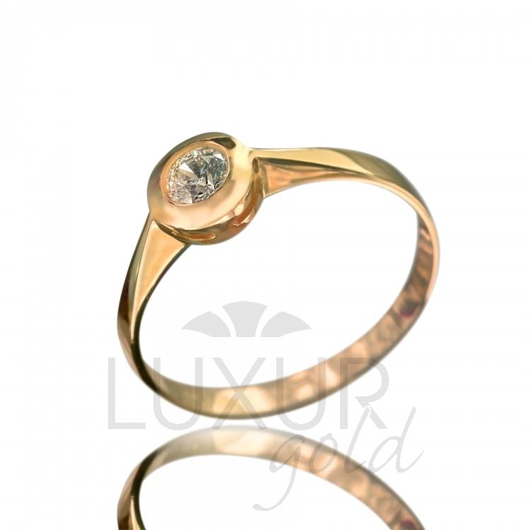 Zásnubní dámský prstýnek s velkým čirým zirkonem 585/1,22 gr vel. na dotaz (5011093 )