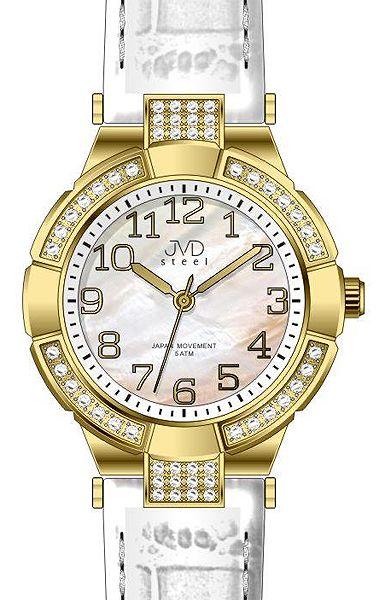 Dámské luxusní hodinky JVD steel J4064.2 s perleťovým číselníkem bílé