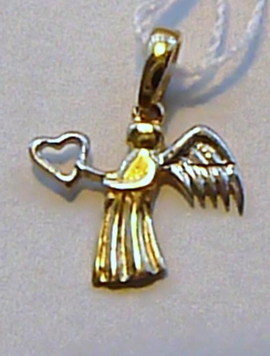 Přívěsek z bílého a žlutého zlata - andělíček se srdíčkem 585/0,39gr H319