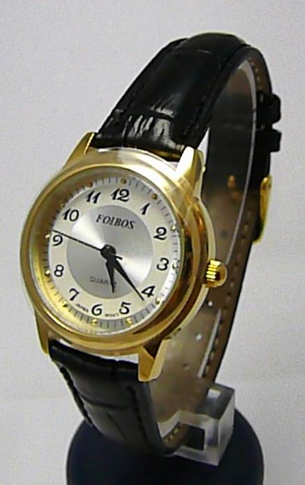 Dámské společenské ocelové zlacené hodinky Foibos 445.9 na černé kůži