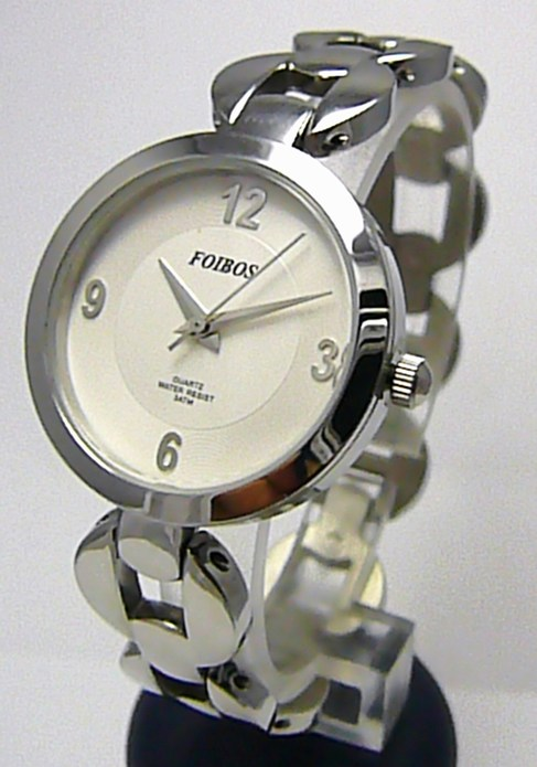 Luxusní stříbrné ocelové dámské hodinky Foibos 2175 se zirkony 3ATM