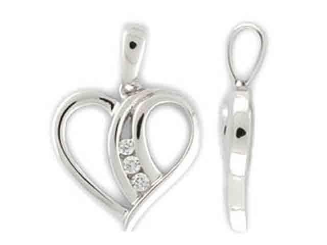 Přívěsek s diamantem, bílé zlato brilianty ve tvaru srdíčka 585/1,15 gr P748 POŠTOVNÉ ZDARMA!