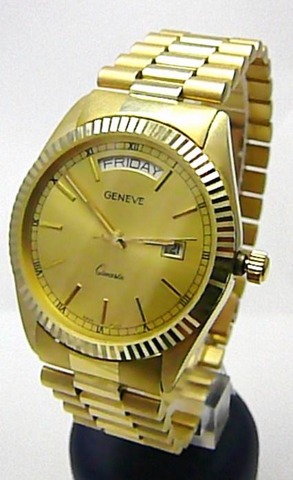 Luxusní elegantní pánské zlaté švýcarské hodinky 585/77,70gr GENEVE 3ATM T153 POŠTOVNÉ ZDARMA!