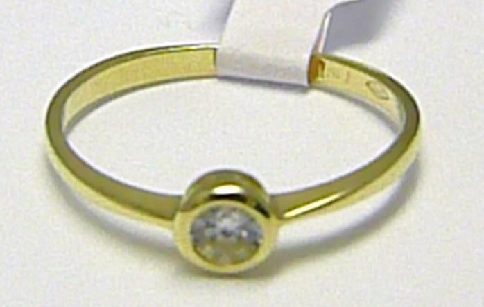 Zásnubní zlatý prstýnek ze žlutého zlata 585/1,09 gr vel. 51 H352
