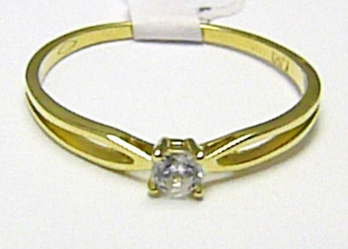 Zásnubní zlatý prstýnek ze žlutého zlata 585/1,07 gr vel. 55 H353