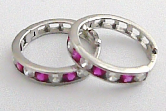 Dámské mohutné zlaté kruhy se zirkony (fialové) pr. 15 mm 585/1,9 gr H369 POŠTOVNÉ ZDARMA!