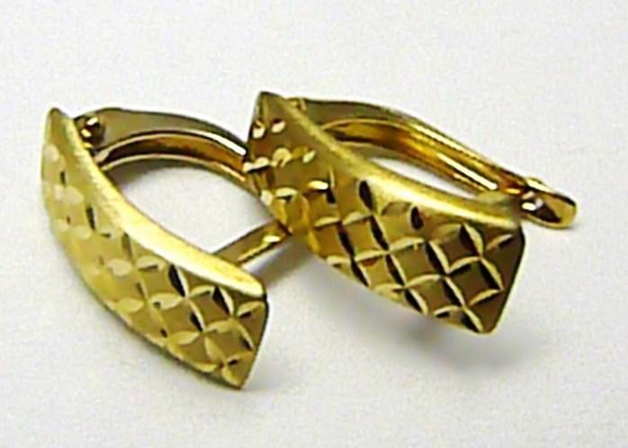 Mohutné zlaté náušnice s gravírováním - čtvrt kruhy 585/1,34gr H376