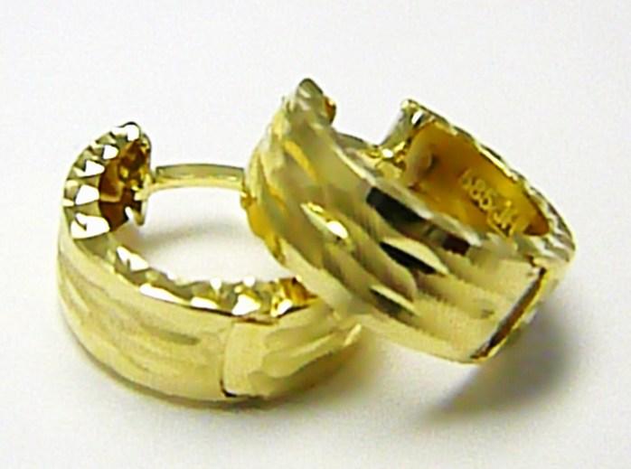 Mohutné luxusní velké zlaté kruhy s gravírováním pr. 15mm 585/2,15gr H377 POŠTOVNÉ ZDARMA!