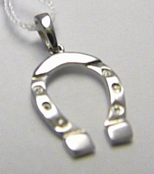 Podkova - přívěsek ve tvaru podkovičky pro štěstí z bílého zlata 585/0,66gr H383