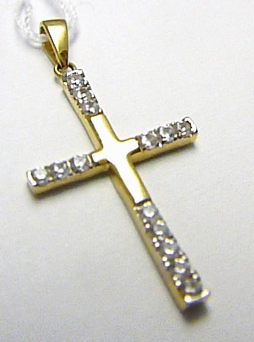 Luxusní velký mohutný zlatý křížek - přívěsek se zirkony 585/1,60 gr H389 POŠTOVNÉ ZDARM