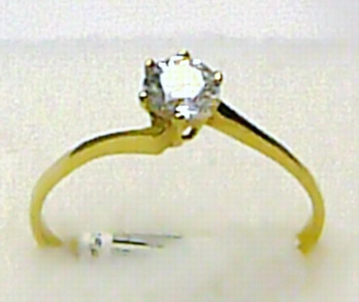 Zásnubní zlatý prstýnek ze žlutého zlata s velkým zirkonem 585/1,02g vel.56 P368 (4515041)