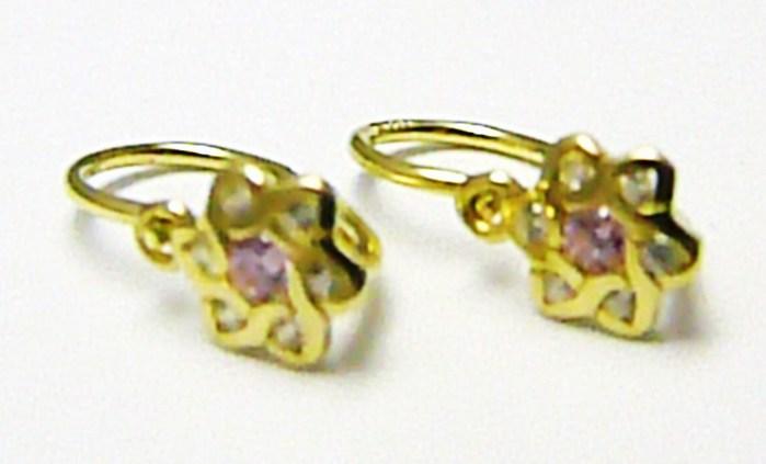 Dětské zlaté náušnice s čirými a růžovými zirkony pro holčičky 585/0,90 gr P370