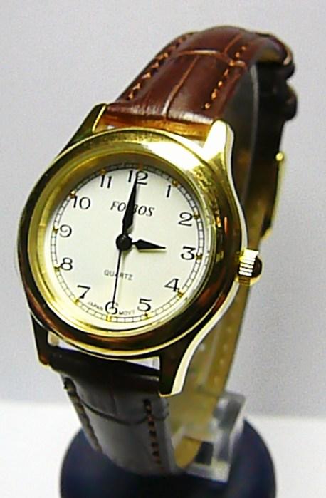 Dámské společenské ocelové zlacené hodinky Foibos 445.10 na hnědé kůži