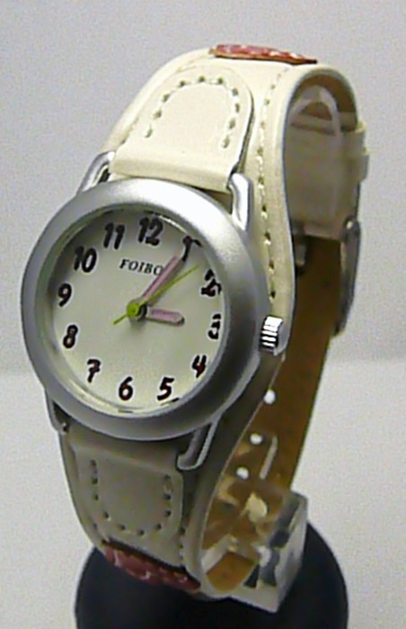 Bílé dívčí dětské hodinky Foibos 1578.2 se srdíčkovým páskem