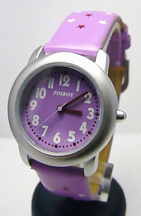 Fialkové větší dívčí hodinky Foibos 1619.4 s barevným číselníkem