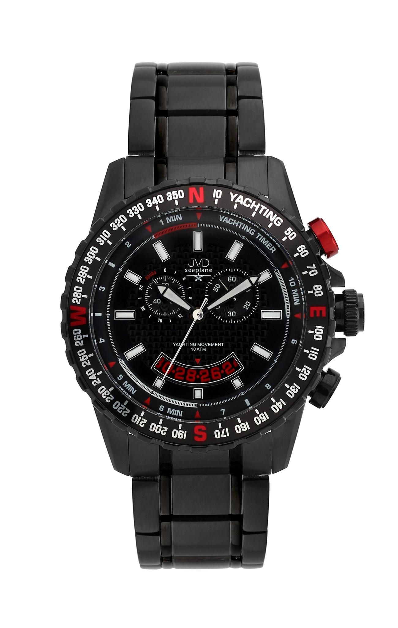 Černé vysoce odolné vodotěsné chronografy hodinky JVD seaplane J1096.3 10ATM POŠTOVNÉ ZDARMA! (POŠTOVNÉ ZDARMA!!)