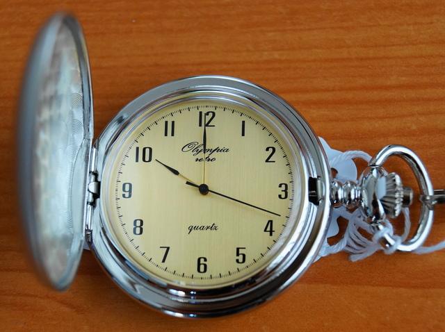 Luxusní stříbrné kapesní hodinky Olympia 30421 na řetízku - retro