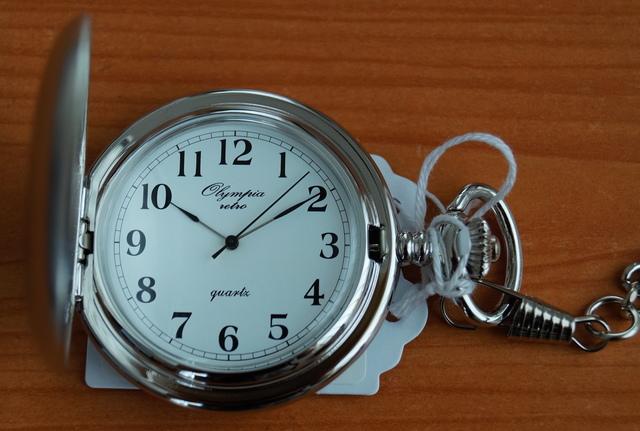 Luxusní stříbrné kapesní hodinky Olympia 30424 na řetízku - retro