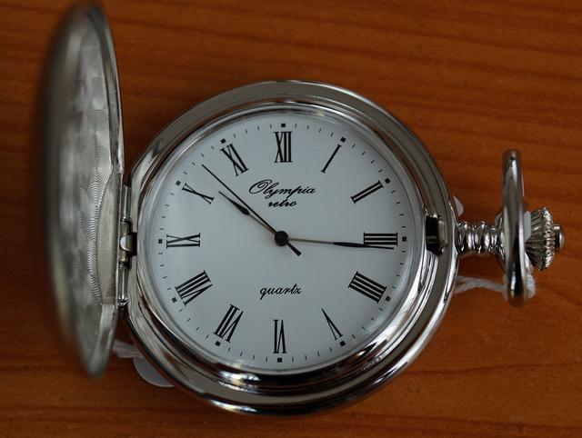 Luxusní stříbrné kapesní hodinky Olympia 30426 na řetízku - retro