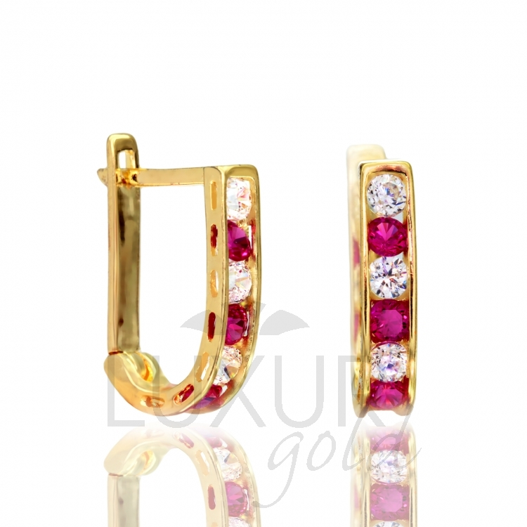 Luxusní dámské zlaté náušnice se zirkony a červenými rubíny 585/1,40 gr P557 (1131090)