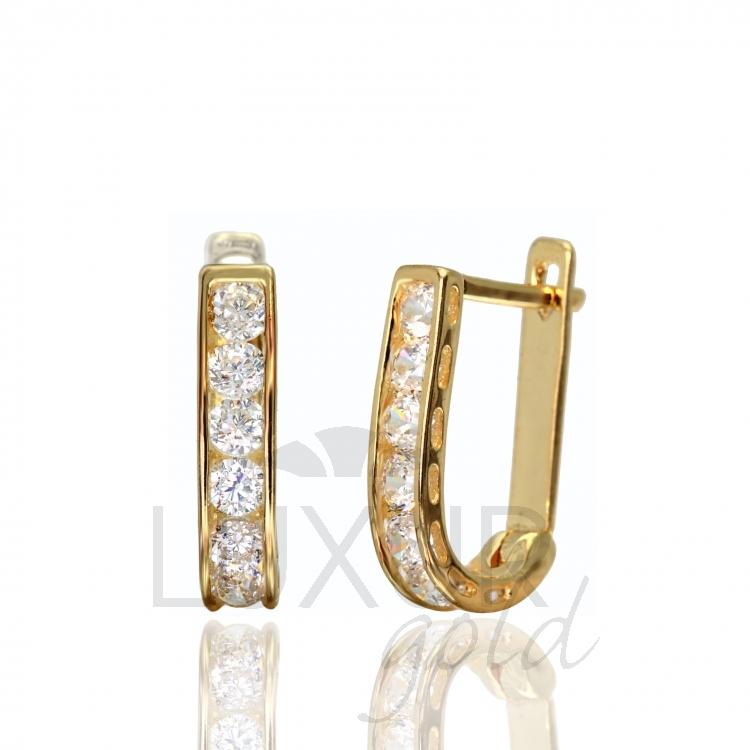 Luxusní dámské zlaté náušnice se zirkony 585 1 66e40cd4db1