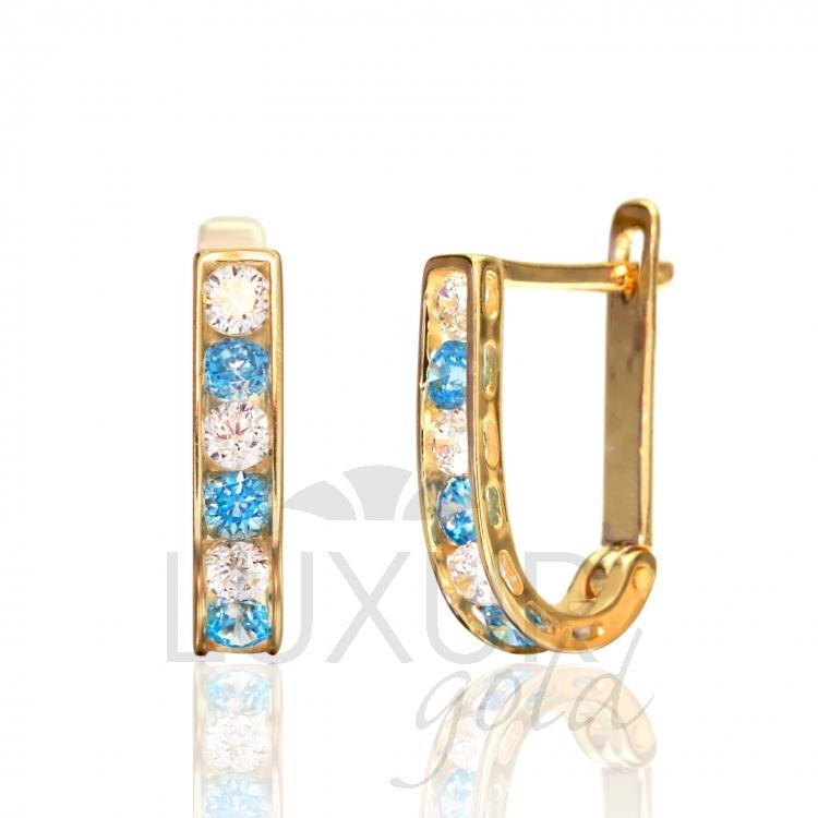 Luxusní dámské zlaté náušnice se zirkony a modrými tyrkysy 585/1,40gr 1131090-0- POŠTOVNÉ Z