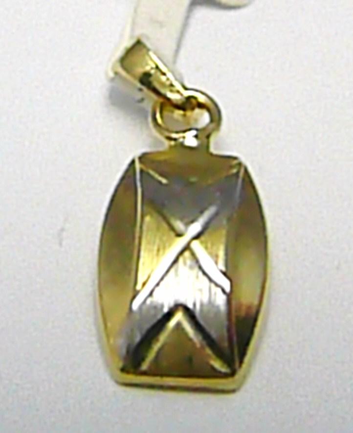 Zlatý přívěsek z bílého a žlutého zlata s gravírováním 585/0,60gr P382 (2120336)