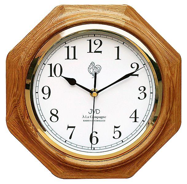Dřevěné rádiem řízené hodiny JVD NR7172.4 ve francouzském stylu