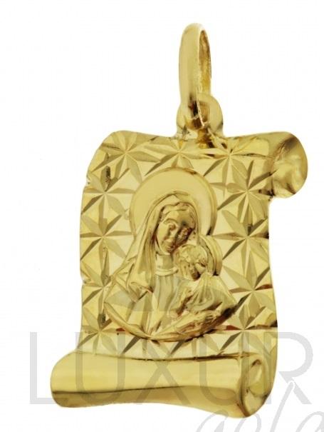 Zlatý přívěsek - zlatá madonka na pergamenu s gravírováním 585/1,1gr 1322333 (1322333-0-0-0)