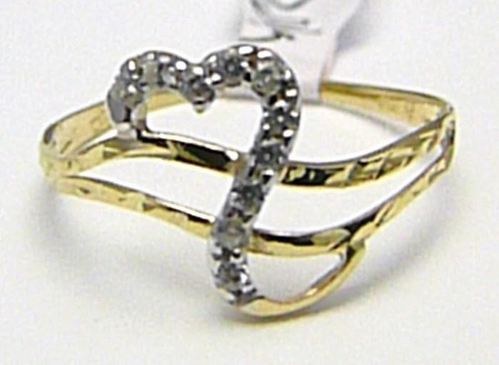 Dámský srdíčkový prstýnek pro zamilované se zirkony 10 ks 585/1,01gr vel.56 H402