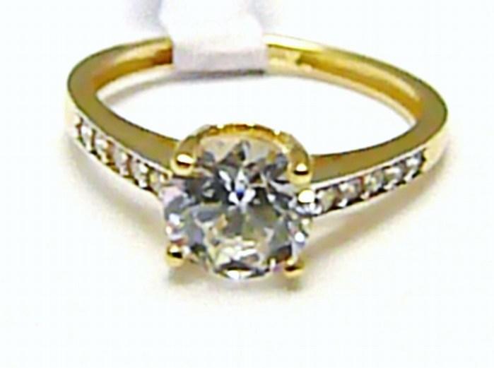 Mohutný zásnubní zlatý prsten se zirkony 11 ks 585/1,82 gr vel. 49 H403 POŠTOVNÉ ZDARMA!