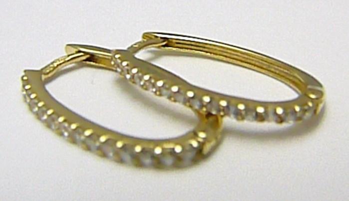 Dámské zlaté kruhy se zirkony 28ks - oválné kroužky 585/1,58gr H408