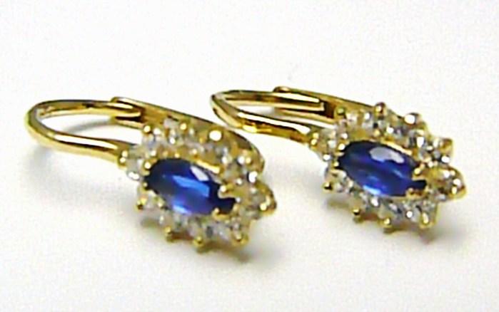 Dámské zlaté náušnice se zirkony 20 ks a modrými safíry 585/1,76 gr H409