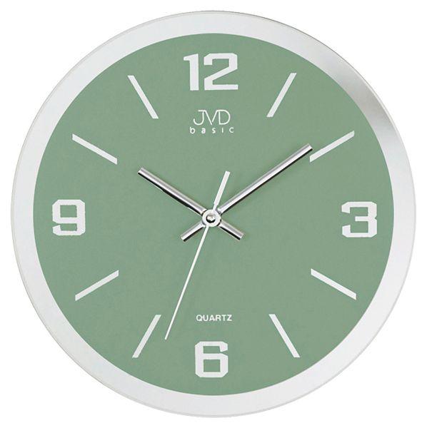 Skleněné stříbrné nástěnné hodiny JVD quartz N27033.6