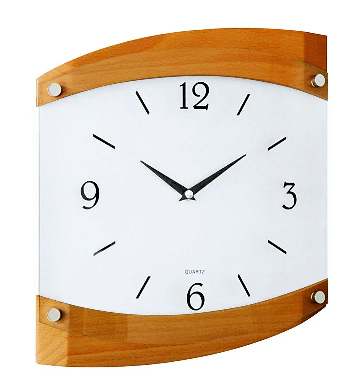 Dřevěné skleněné nástěnné hodiny JVD quartz N14019/41