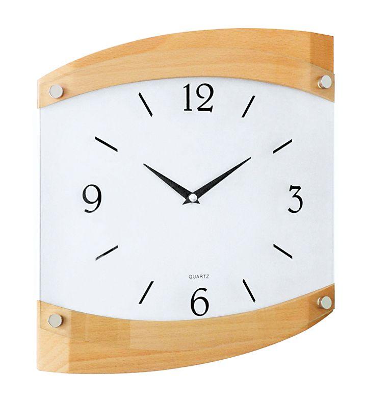 Dřevěné skleněné nástěnné hodiny JVD quartz N14019/68