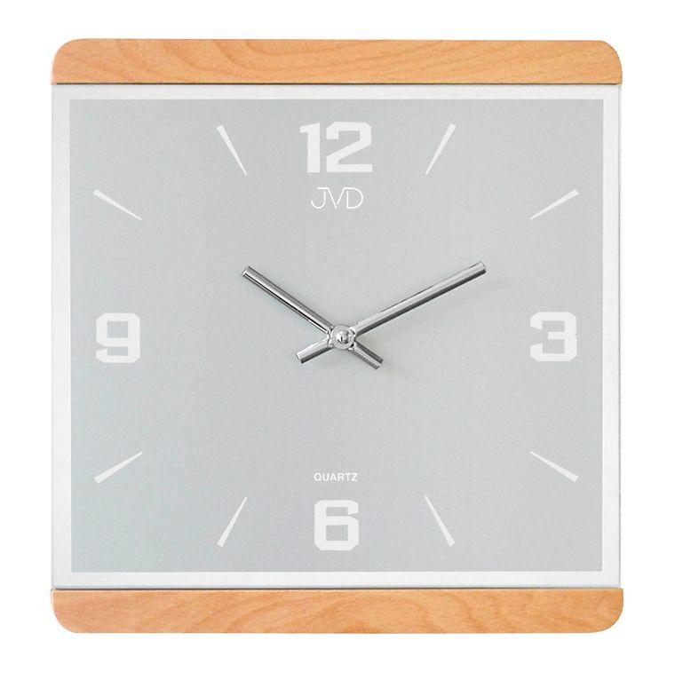 Dřevěné skleněné hodiny JVD quartz N13058/68 se zrcadlovými číslicemi