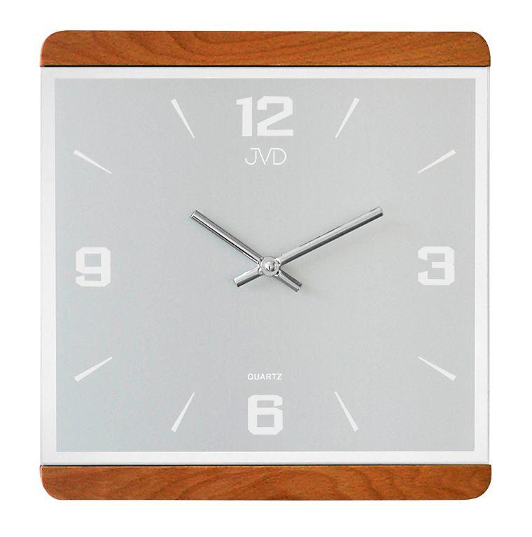 Dřevěné skleněné hodiny JVD quartz N13058/41 se zrcadlovými číslicemi