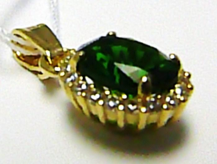 LUuxsní mohutný přívěsek se zeleným smaragdem 585/0,94gr H419