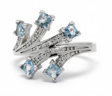 Diamantový prsten s brazilskými akvamaríny (0,645ct) 585/3,43 gr J-22188-13 POŠTOVNÉ ZDARMA! ( J-22188-13)