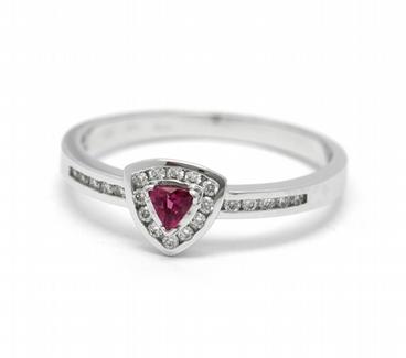Luxusní zásnubní diamantový prsten s červeným turmalínem 585/2,2 gr J-22192-13 POŠTOVNÉ ZDARMA!