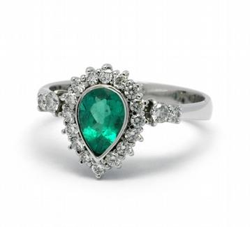Diamantový prsten se zeleným smaragdem (0,789ct) 585/3,79 gr J-22261-13 POŠTOVNÉ ZDARMA! ( J-22261-13)
