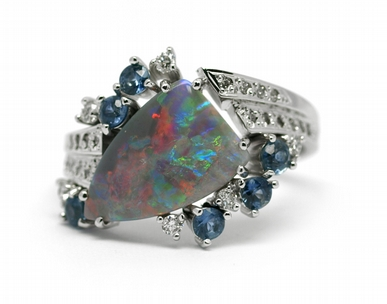 Diamantový prsten s opálem a safíry (1,196ct) 585/4,66 gr J-22237-13 POŠTOVNÉ ZDARMA!