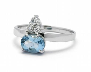 Luxusní prsten s modrým akvamarínem a diamanty J-22240-13