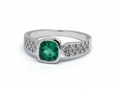 Luxusní diamantový prsten se zeleným smaragdem Kolumbie J-21851-12 POŠTOVNÉ ZDARMA! (21851-12)
