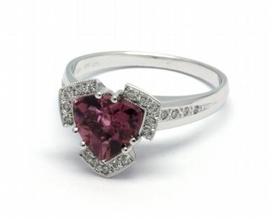 Luxusní diamantový prsten s červeným turmalínem 585/4,32 gr J-21615-12 POŠTOVNÉ ZDARMA!